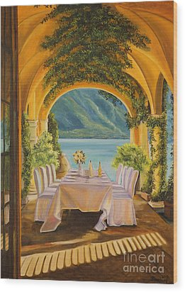Dining On Lake Como Wood Print by Charlotte Blanchard