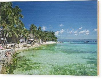 Diniwid Tropical Beach In Boracay Island Philippines Wood Print