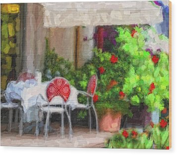 Dinner At The Cafe Wood Print by Gina Cormier