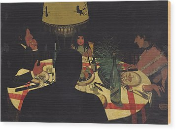 Dinner By Lamplight Wood Print by Felix Edouard Vallotton