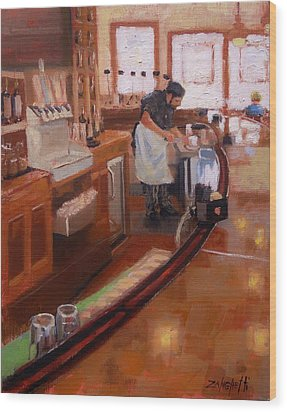 Wood Print featuring the painting Dinner On The Cape by Laura Lee Zanghetti