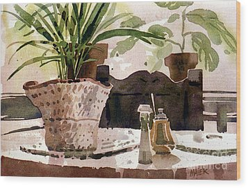Dinning Room Table Wood Print by Donald Maier