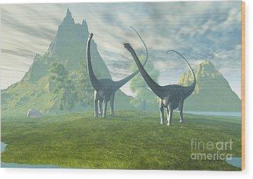 Dinosaur Land Wood Print by Corey Ford