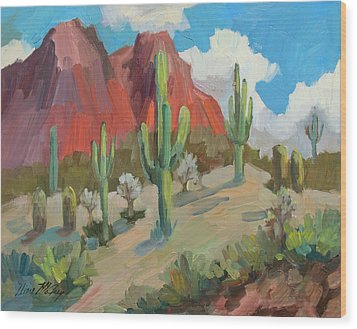 Wood Print featuring the painting Dinosaur Mountain by Diane McClary