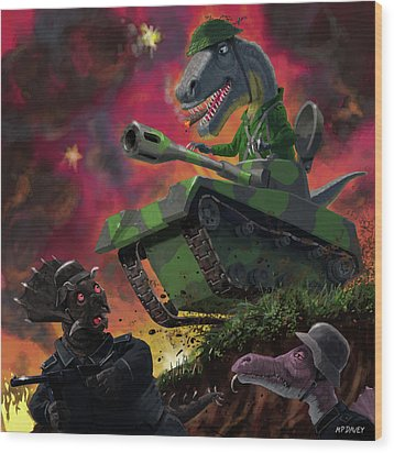 Wood Print featuring the painting Dinosaur War 01 by Martin Davey