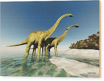 Dinosaur World Wood Print by Corey Ford