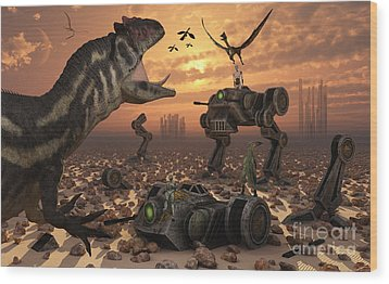 Dinosaurs And Robots Fight A War Wood Print by Mark Stevenson