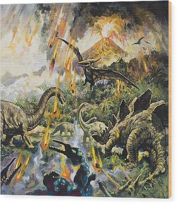 Dinosaurs And Volcanoes Wood Print by English School