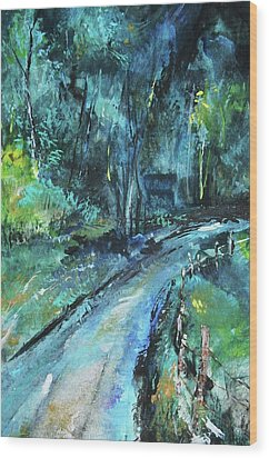 Dirt Road In Blue Wood Print by Michele Carter