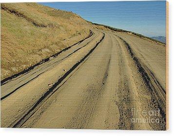 Dirt Road Winding Wood Print by Sami Sarkis
