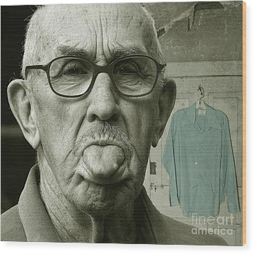 Wood Print featuring the photograph Dirty Blue Shirt by Jan Piller