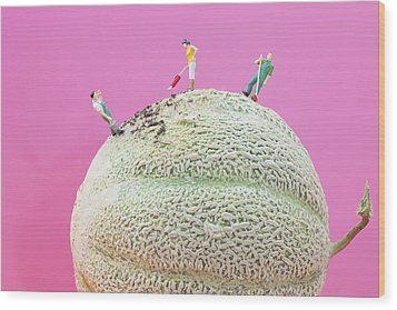 Wood Print featuring the painting Dirty Cleaning On Sweet Melon II Little People On Food by Paul Ge