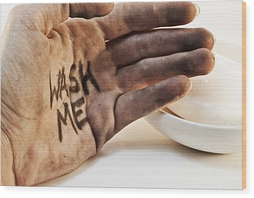Dirty Hand With Soap Wood Print by Blink Images
