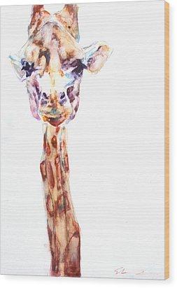 Disappointed Giraffe Wood Print