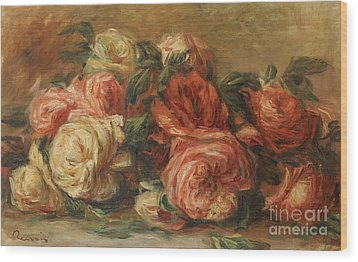 Discarded Roses  Wood Print by Pierre Auguste Renoir