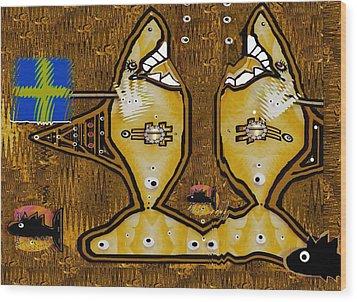 Disco Sharks Wood Print by Pepita Selles