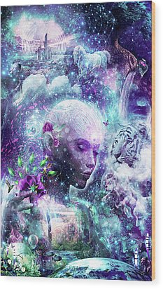 Discovering The Cosmic Consciousness Wood Print by Cameron Gray