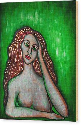 Discrete Contemplation-green Wood Print by Brenda Higginson