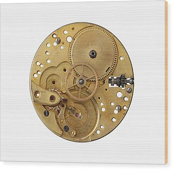 Wood Print featuring the photograph Dismantled Clockwork Mechanism by Michal Boubin