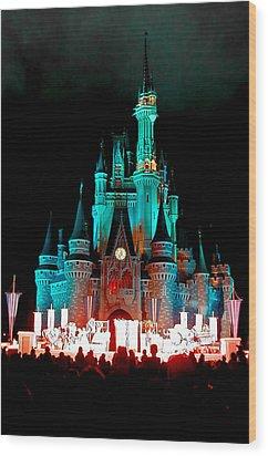 Disney World Night Wood Print by John Haldane