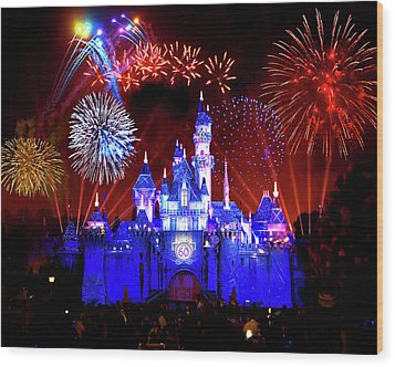 Disneyland 60th Anniversary Fireworks Wood Print