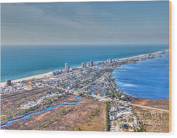 Distant Aerial View Of Gulf Shores Wood Print