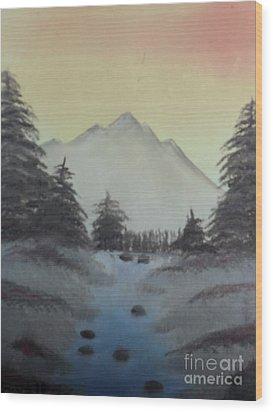 Distant Mountain Wood Print