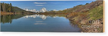 Distant Mt. Moran Reflections Wood Print by Adam Jewell