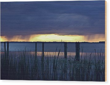 Distant Storms At Sunset Wood Print by DigiArt Diaries by Vicky B Fuller