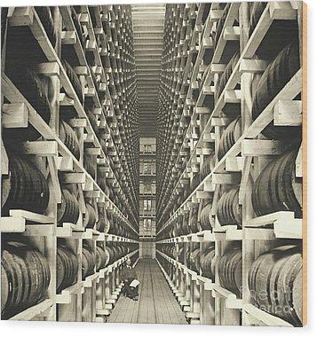 Distillery Barrel Racks 1905 Wood Print by Padre Art
