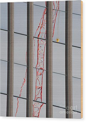 Distorted Reflection Of A Tower Crane Wood Print by Thom Gourley/Flatbread Images, LLC