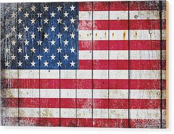 Distressed American Flag On Wood Planks - Horizontal Wood Print