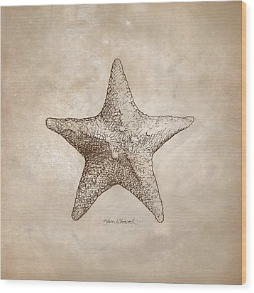 Wood Print featuring the drawing Distressed Antique Nautical Starfish by Karen Whitworth