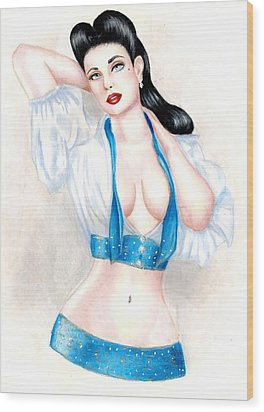 Dita Wood Print by Scarlett Royal