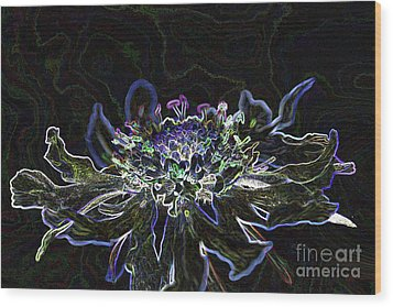 Ditigal Abstract Art Glowing Flower Wood Print