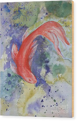Diva Koi Wood Print by Sibby S