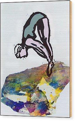 Dive - Evening Pool Wood Print by Adam Kissel