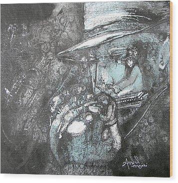 Divine Blues Wood Print by Anne-D Mejaki - Art About You productions