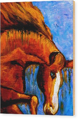 Wood Print featuring the painting Divine Equine by Marie Hamby