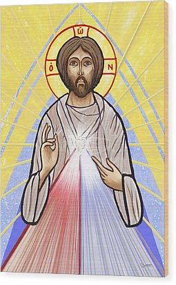 Divine Mercy Icon Style Wood Print by Dave Luebbert