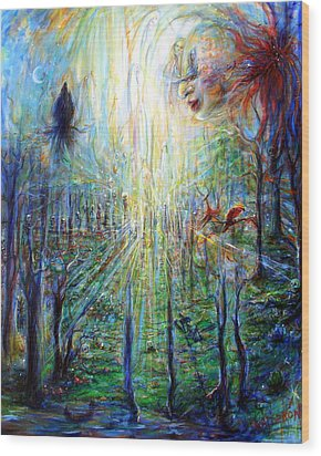 Wood Print featuring the painting Divine Mother Earth by Heather Calderon