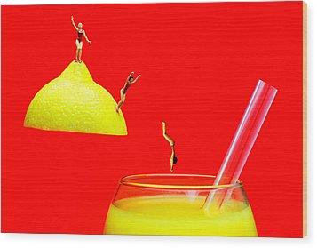 Diving Into Orange Juice Wood Print by Paul Ge