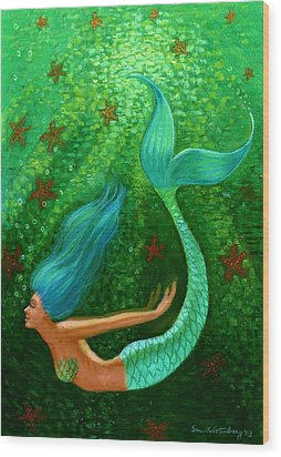 Diving Mermaid Fantasy Art Wood Print by Sue Halstenberg
