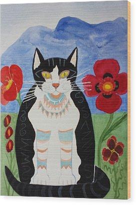 Diwali Tux Cat Wood Print