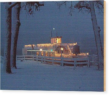 Dixie Boat Christmas Wood Print