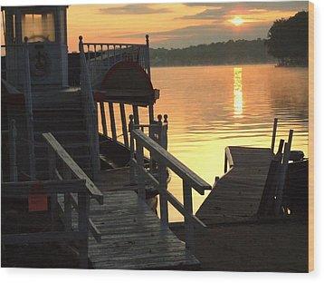 Dixie Boat Sunrise Wood Print