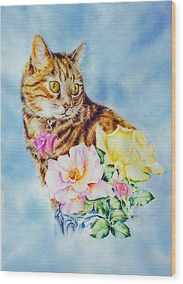 Dixie-cat Wood Print by Nancy Newman