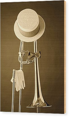 Dixieland Trombone Wood Print by M K  Miller