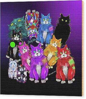 Wood Print featuring the painting Dizzycats by DC Langer