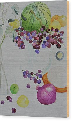 Wood Print featuring the painting Django's Grapes by Beverley Harper Tinsley